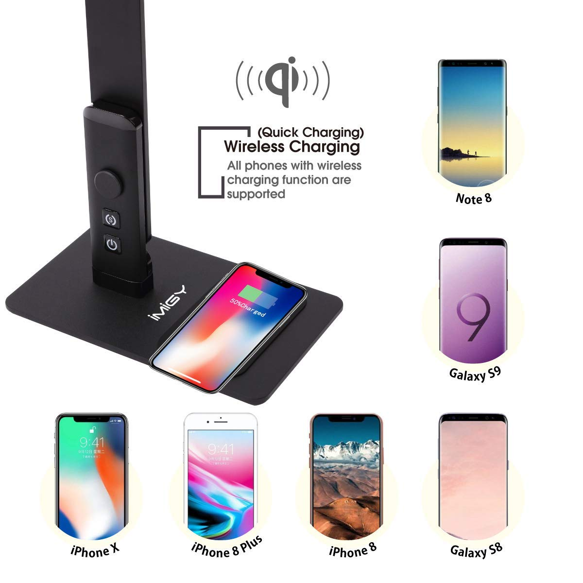 imiGY 12W Dimmable LED Desk Lamp with USB//Wireless Qi Charging Touch Control with 3 Brightness 3 Color Modes for iPhone 8//8Plus//X//Xs//Xs Max and Galaxy S8//S9 Dimmable Office Lamp
