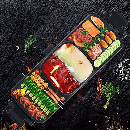 Xyfw Barbecue Électrique Plaque De Cuisson Électrique Hot Pot Électrique Poêle Intégrée sans Fumée Poêle Carrée Poêle Électrique Non-Bâton avec Accessoires De Barbecue