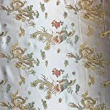 Off White 45 Inch Wide Woven Chinese Dragon Brocade Dress Fabric - Sold by the Metre by Discover Direct