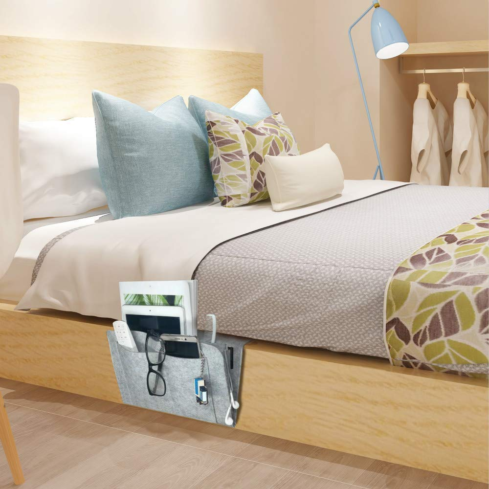 Bedside Caddy Felt Storage Organizer, Under Couch Table Mattress Caddy for Holding Books Magazines Tablet Phone - Five Pockets and Side Charging Cable Hole(Grey with Hole)