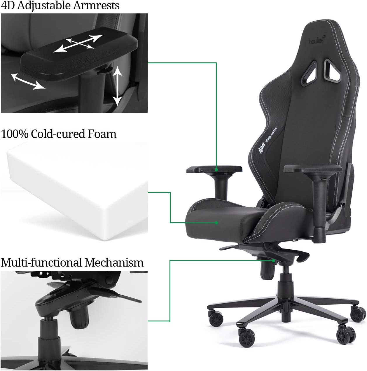 boulies E-Sports Gaming Chair Office Chair Computer Desk Chair High Back Racing Chair 4D Armrest Lumbar and Head Pillow Ninja Carbon Black
