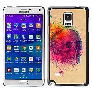 GOODTHINGS Funda Imagen Diseño Carcasa Tapa Trasera Negro Cover Skin Case para Samsung Galaxy Note 4 SM-N910F SM-N910K SM-N910C SM-N910W8 SM-N910U SM-N910 - colorido explosión cráneo mariposa cráneo