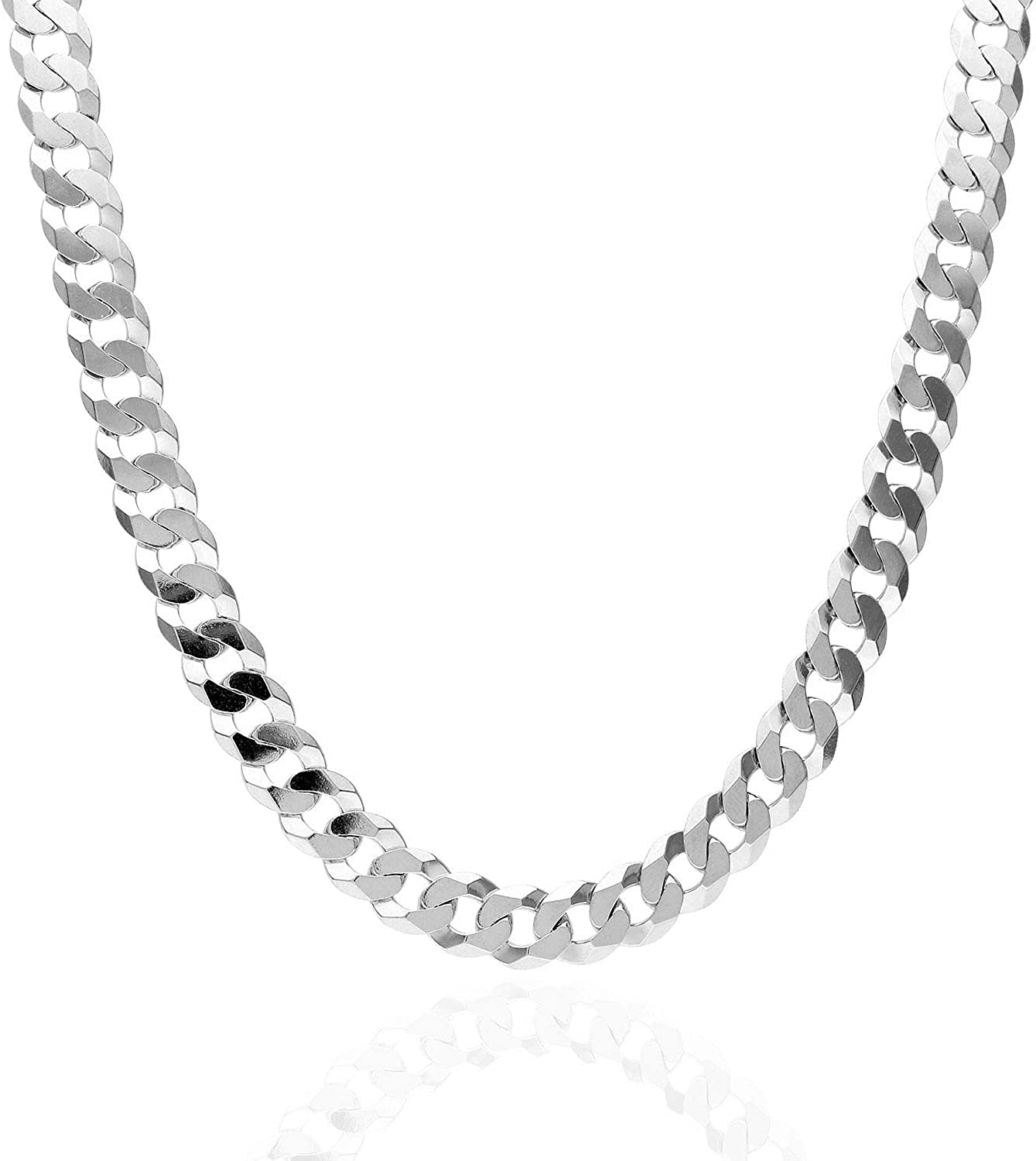 925 Sterling Silver 7mm Solid Cuban Link Chain Necklace 20-30