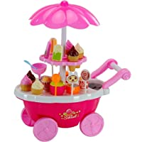 Smartcraft Ice Cream Play Cart Kitchen Set Toy with Lights and Music (Small; Multicolour)