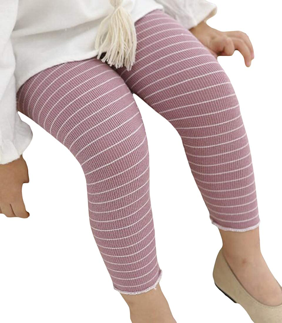 Cromoncent Girl Flex Skinny Fit Stretchy Striped Cotton Comfort Leggings