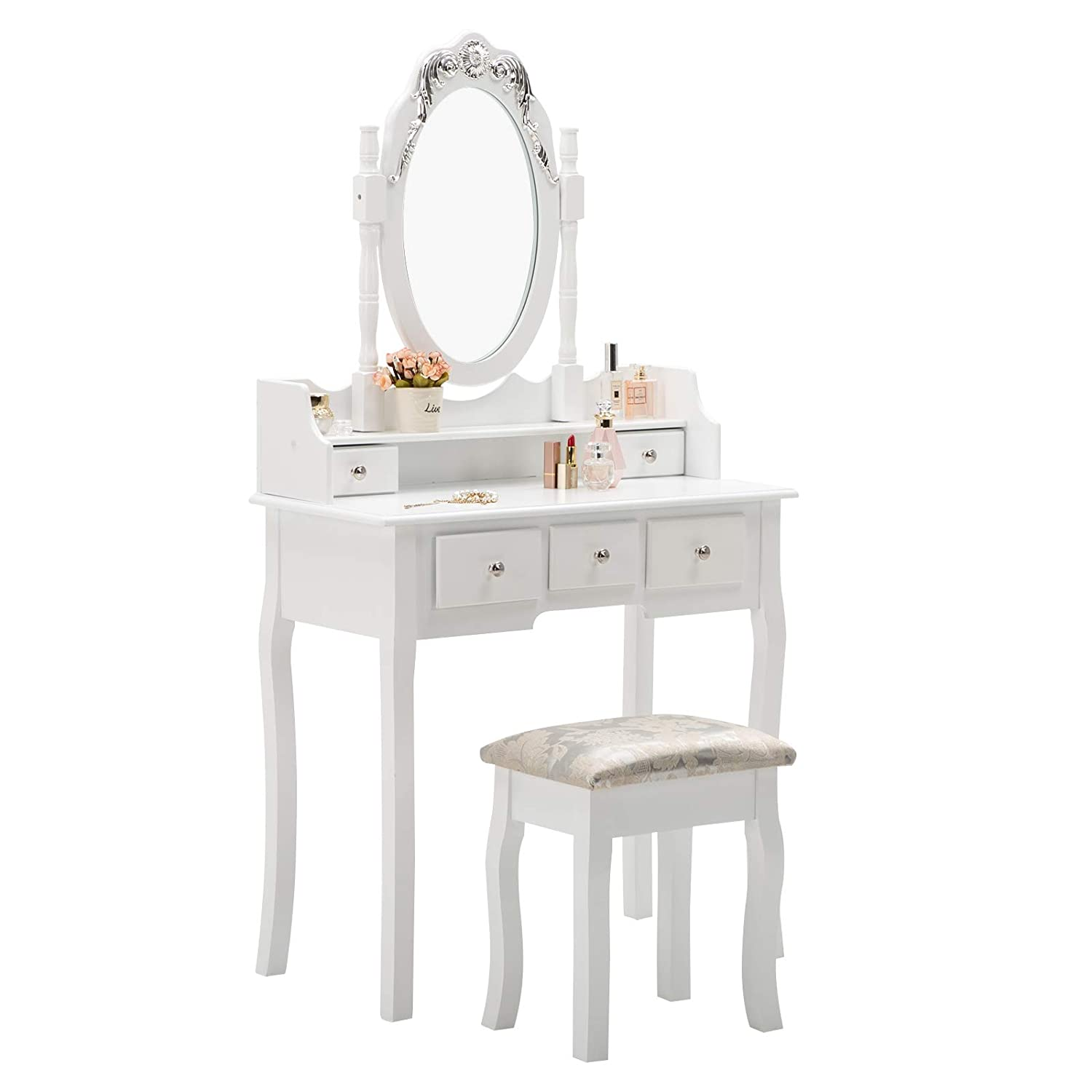 Amazon com unihome makeup vanity table set and cushioned stool oval mirror and surprise gift makeup organizer 5 drawers dressing table white kitchen