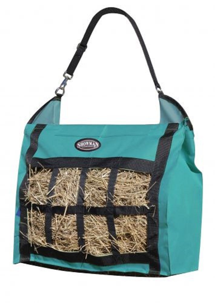 Showman Nylon Slow Feed Hay Tote Bag Heavy Duty Durable Easy to Fill and Carry (Teal) Shiloh