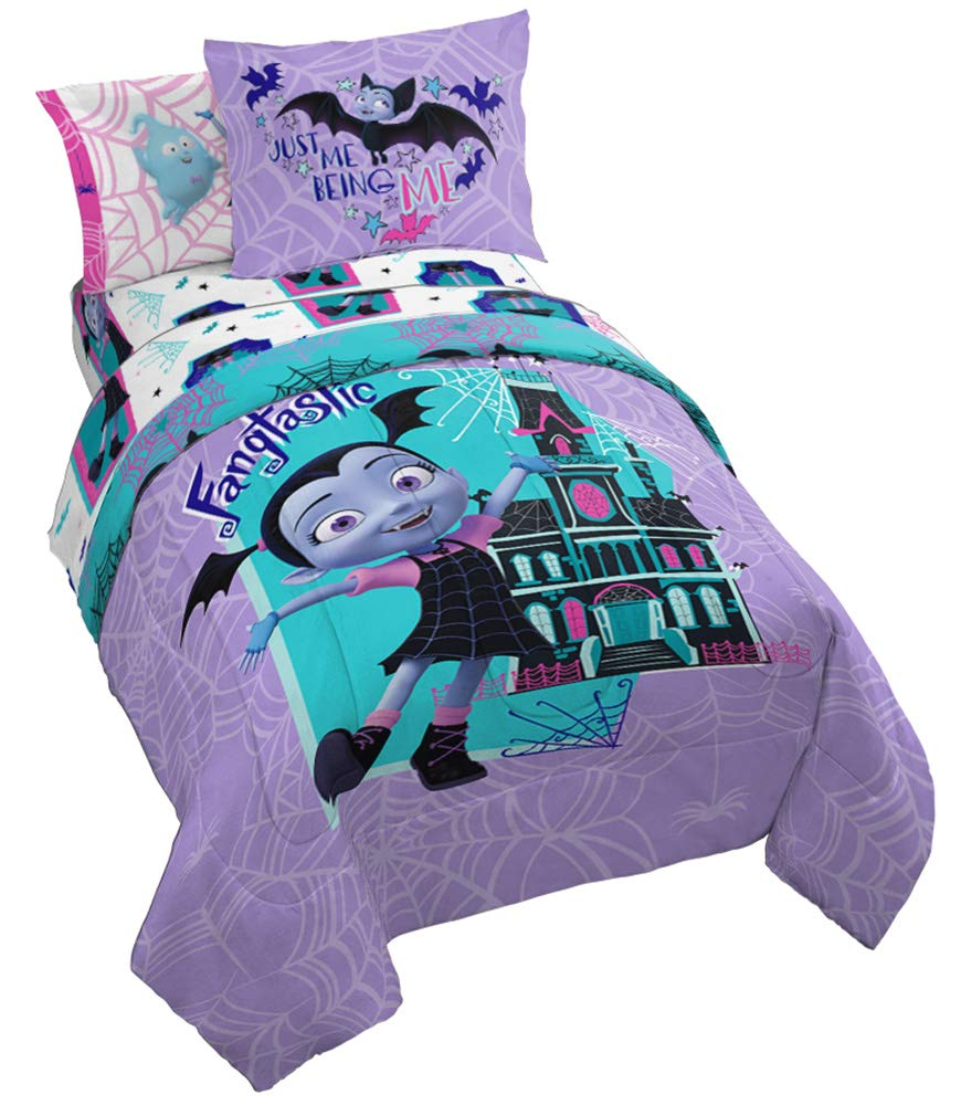 Disney Vampirina Fang Brights 5 Piece Twin Bed Set - Includes Reversible Comforter & Sheet Set - Bedding Features Vampirina, Demi, and Gregoria - Super Soft Microfiber - (Official Disney Product)