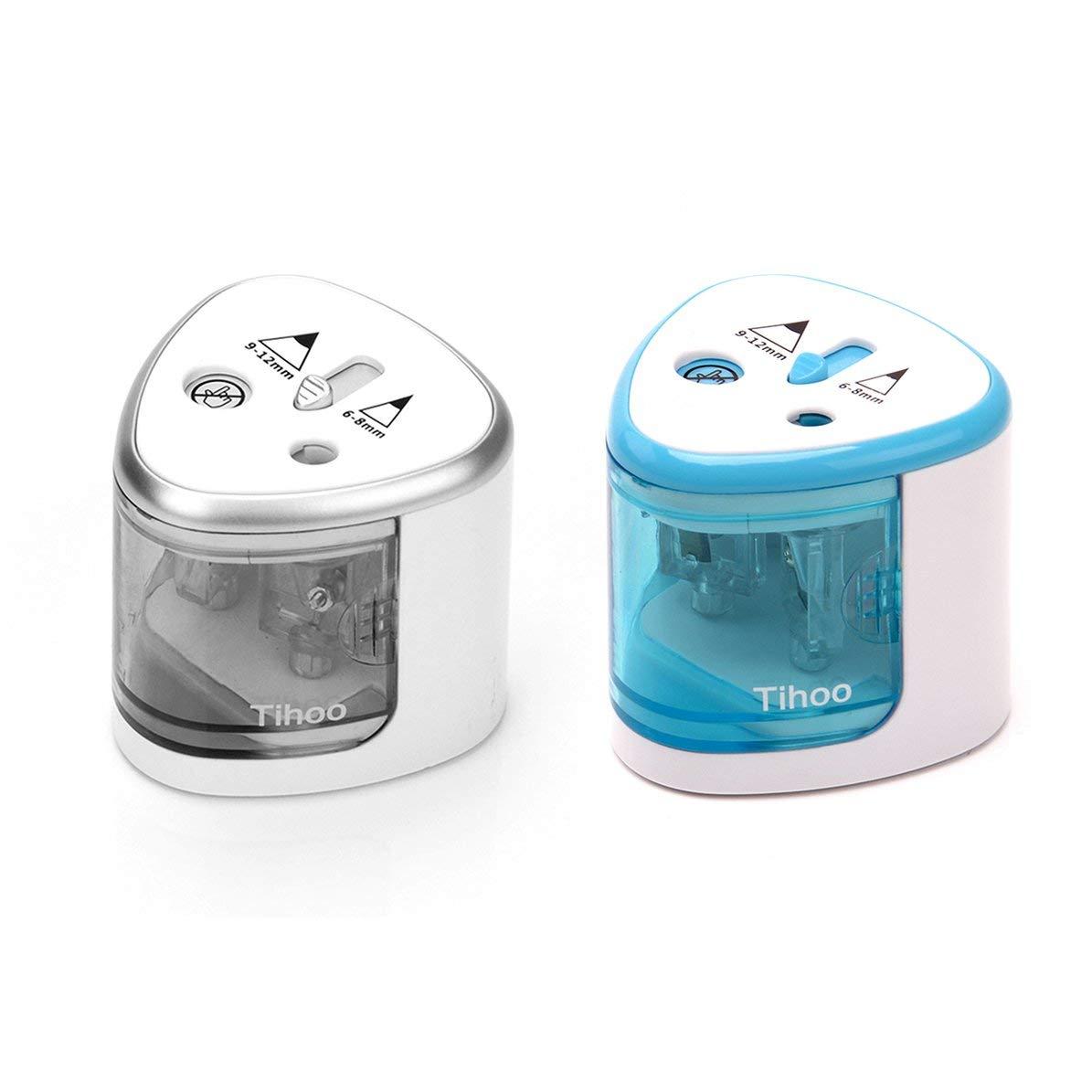 Compatto doppio foro Art Sketch Temperamatite elettrico Cancelleria per scuola Temperamatite automatico Accessori per ufficio argento