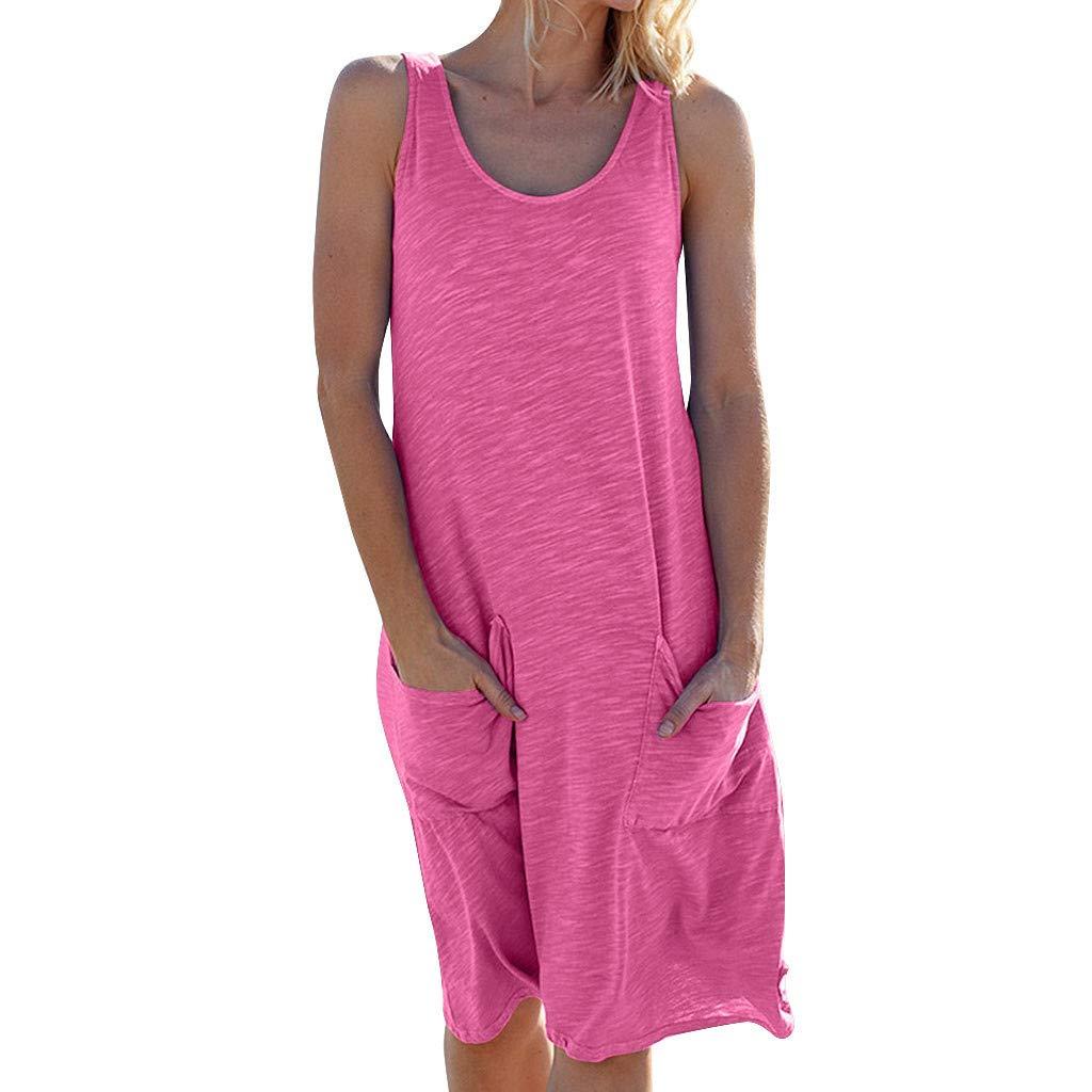 LOLIANNI Frauen Reine Farbe Strandkleid Damen Pocket Holiday Sommer /ärmelloses Kleid Daily Casual Dress