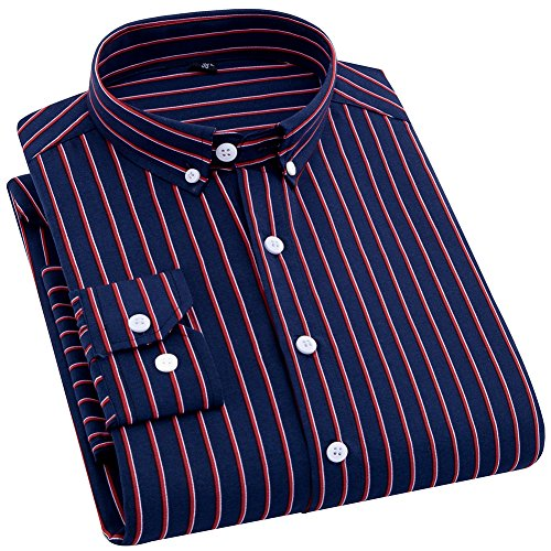 DOKKIA Men's Casual Long Sleeve Vertical Striped Slim Fit Dress Shirts (Navy Blue Red, Medium) ()