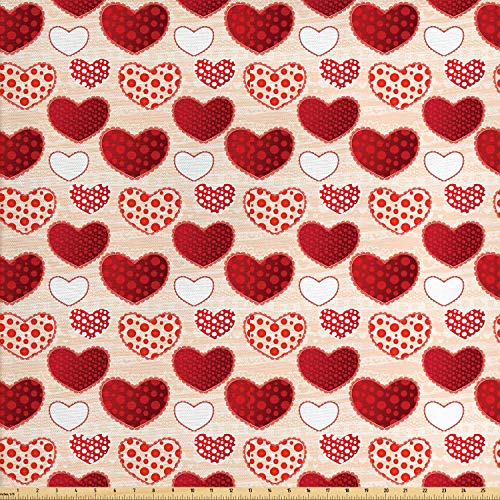 Lunarable Love Fabric by The Yard, Love Valentine's Day Patchwork Warm Colors Polkadots Striped Background, Decorative Fabric for Upholstery and Home Accents, 1 Yard, Red Scarlet Peach White (Upholstery Dot Polka)