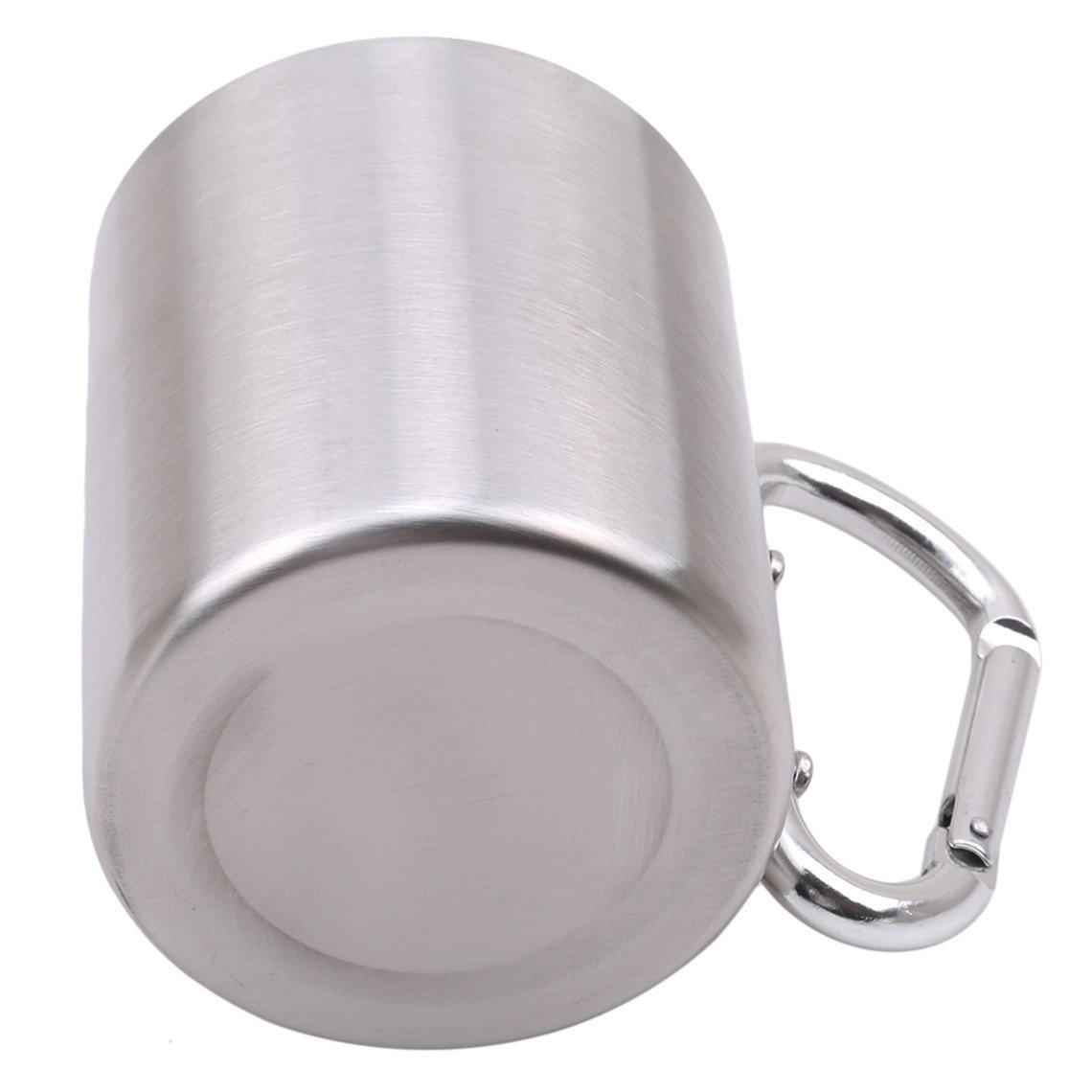 Rurah Stainless Steel Portable Travel Water Tea Coffee Mug Lock Carabiner Handle Cup for Camping Hiking Climbing Cup
