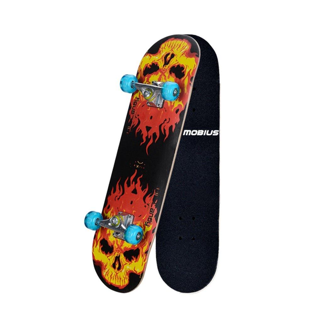 スケートボードダブルホイールフラッシュホイールブラックボーダー(カラー:ブラック)