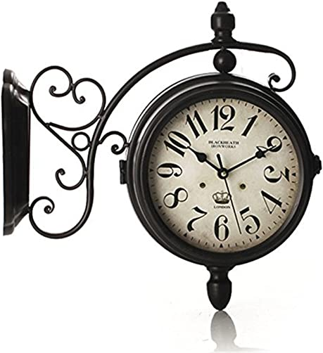 CC Retro Metal Double Sided Clock Personality Corridor Decorative Wall Clock Muted Timepieces , black