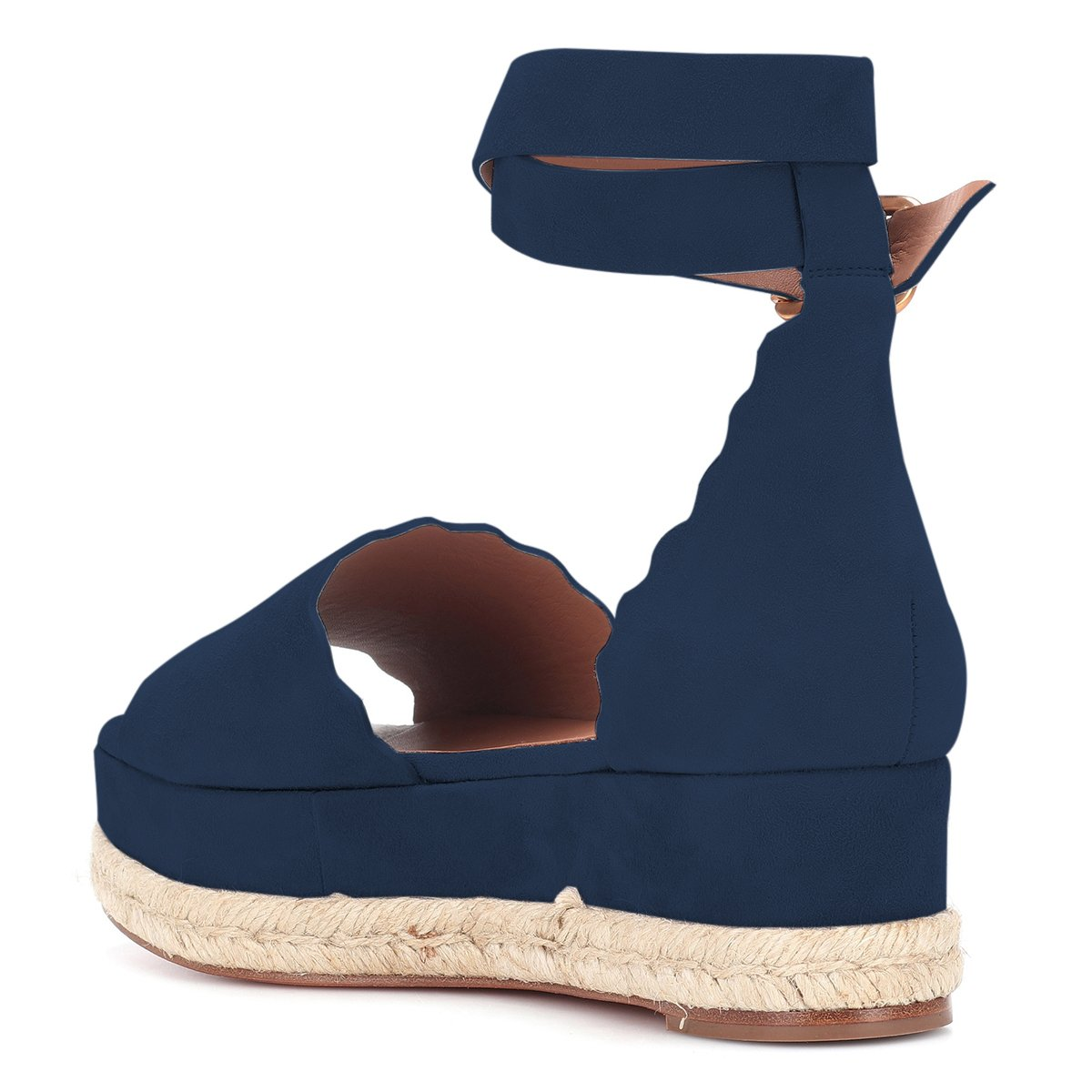 YDN Women Espadrille Wedge Peep Toe Ankle Straps Wedge Espadrille Sandals Low Heels Platform Shoes with Buckle B07DCP38PM 7 M US|Navy 40a02a