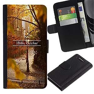 A-type (Sign Leaves Fall Autumn Nature) Colorida Impresión Funda Cuero Monedero Caja Bolsa Cubierta Caja Piel Card Slots Para Sony Xperia Z1 Compact / Z1 Mini (Not Z1) D5503