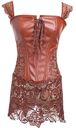 78c7387553 Imbry Gothic Faux Leather Bodysuit for Women Zip up Corset Bustiers Dress   Amazon.co.uk  Clothing