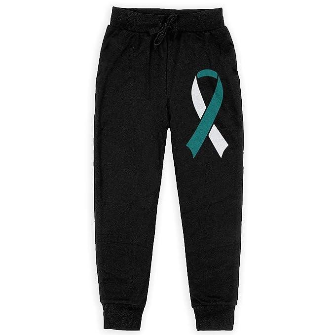 WYZVK22 Cervical Cancer Awareness Ribbon Soft//Cozy Sweatpants Teenager Active Basic Jogger Fleece Pants for Teen Girls