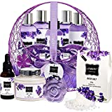 Easter Basket Bath and Body Gift For Women and Men – Hot and Cold Gel Eye Mask, Lavender and Jasmine Deluxe Home Spa Set with Bath Bombs, Massage Oil, Purple Wired Candy Dish and Much More