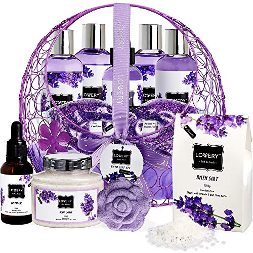Bath and Body Gift For Women and Men Hot and Cold Gel Eye Mask, Lavender and Jasmine Deluxe Home Spa Set with Bath Bombs, Massage Oil, Purple Wired Candy Dish and Much More – 12 Piece Set