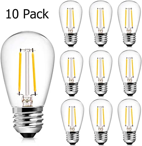 Shatterproof E26 Screw Base Edison LED Light Bulbs Banord 15 Pack Dimmable 2W S14 Replacement LED Bulbs 2700K Warm White Waterproof Outdoor String Lights Vintage LED Filament Bulb