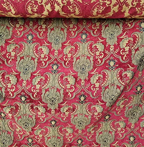 - Damask Tapestry Chenille Fabric - Upholstery Fabric, Red/Gold - 58