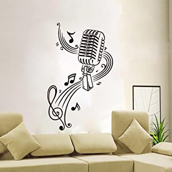 BIBITIME Classroom Vinyl Decal Music Karaoke Microphone Wall Art Musical  Notes Vinyl Sticker For KTV Bar Part 86