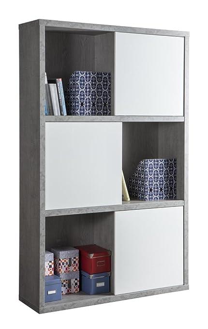 Libreria a dodici vani con ante scorrevoli color cemento e bianco ...
