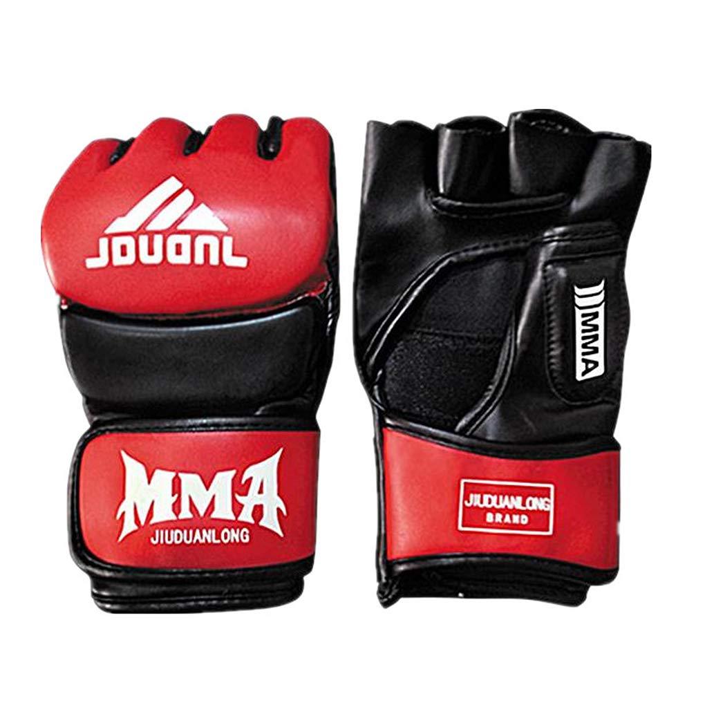 大人用 ハーフフィンガー ボクシンググローブ ポリウレタン ヒット サンドバッグ ミトン サンド トレーニング グローブ 1組 B07ML36HVZ