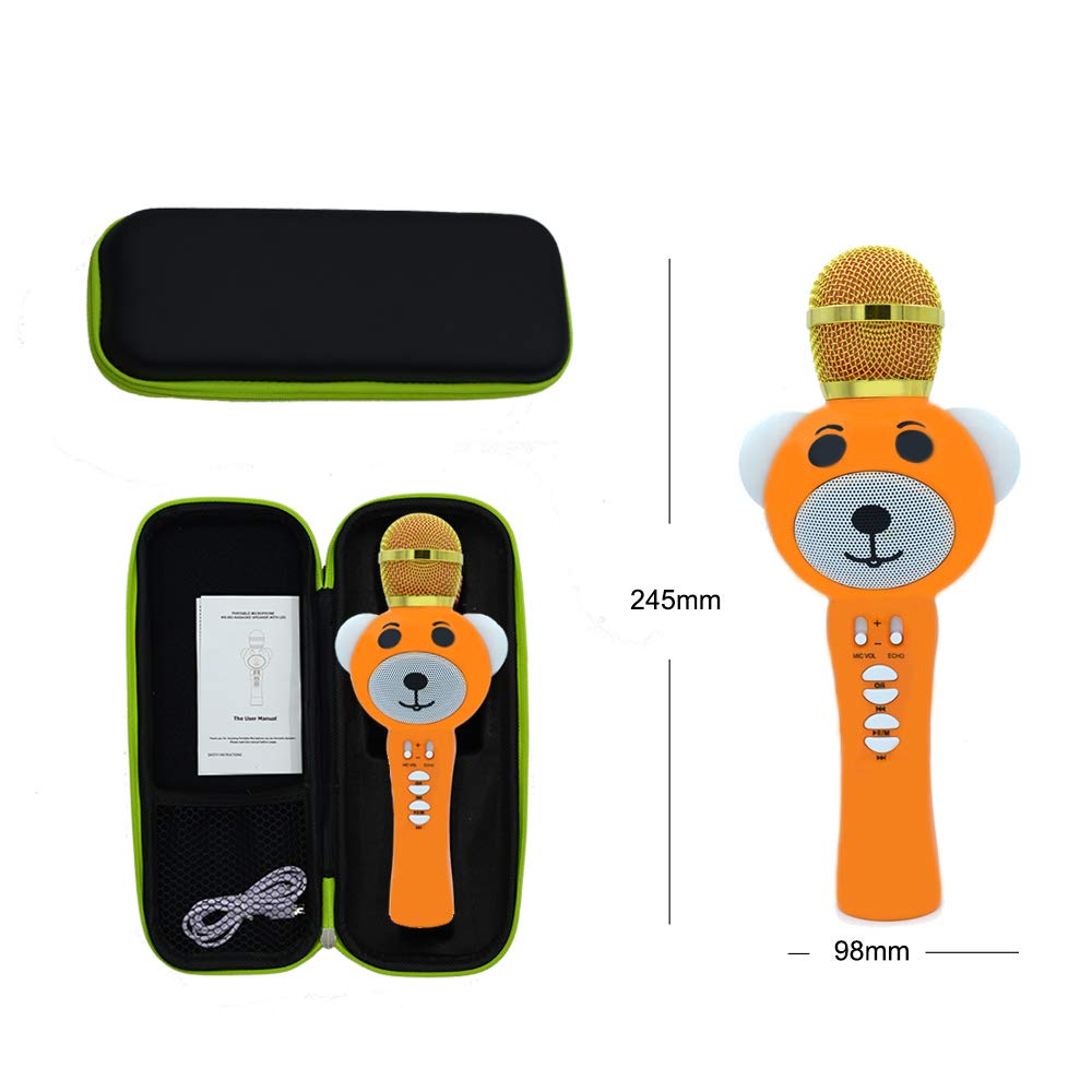 Upgraded 2019 Version Kids Karaoke Microphone with Bluetooth, Magic Voice Changer, and Flashing Multicolored LED Lights (Orange) by Garoma (Image #6)