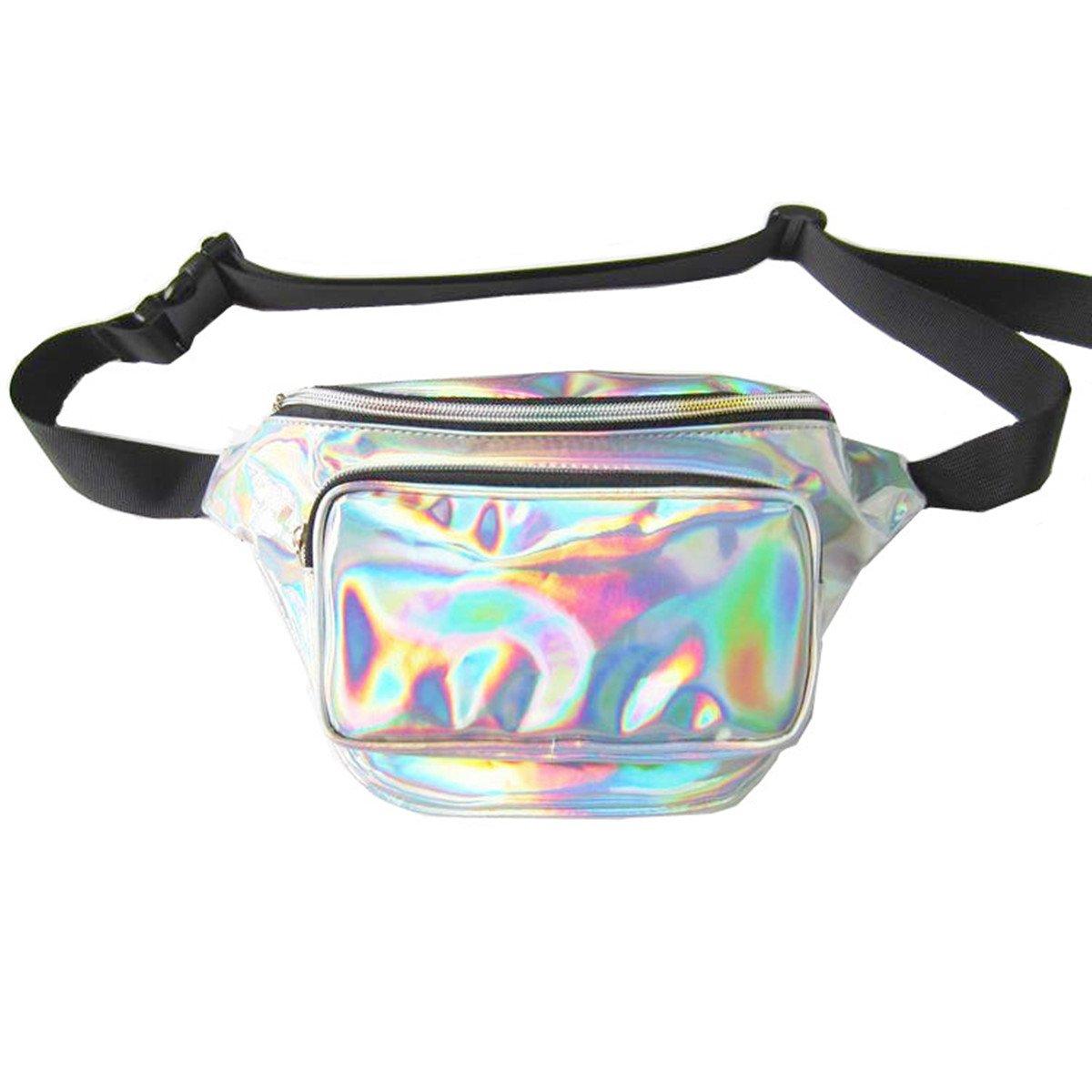 andear Shiny Holographic Bumbag実行スポーツハイキング防水Fanny Packウエストバッグレーザーヒップパック  シルバー B07BSVWH91