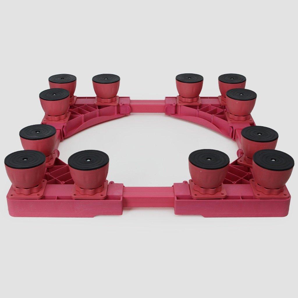 Color Washing Machine Base Twelve Feet Steel Profiles Heightening Bracket Fridge Stand -Casters (Color : Pink)