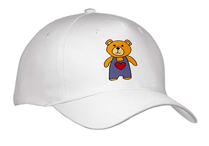All Smiles Art Animals - Funny Orange Teddy Bear Wearing Overalls Cartoon -  Caps - Adult 717812f5e32
