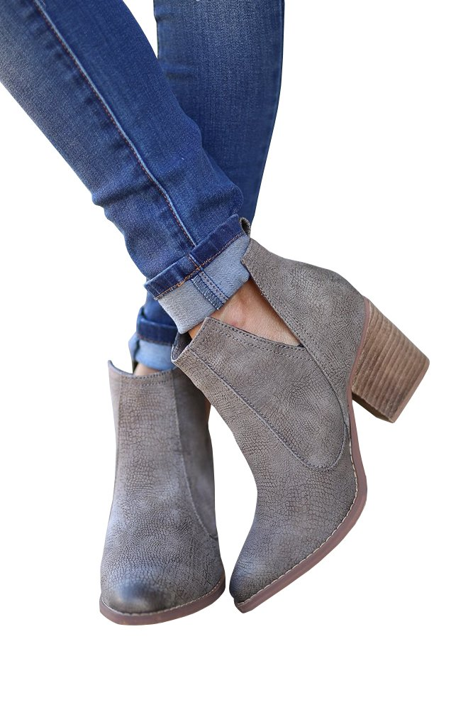Womens Western Cowboy Booties Slip On Cut Out Stacked Block Heel Ankle Boots By Fashare