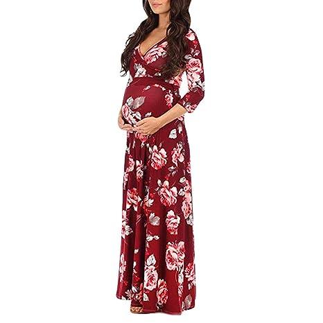 827f03fb753b Donne Abito Lungo Donne Abito Donna Incinta Stampa Wrap Abito Maternità  Regolabile Cintura Multi-Funzione