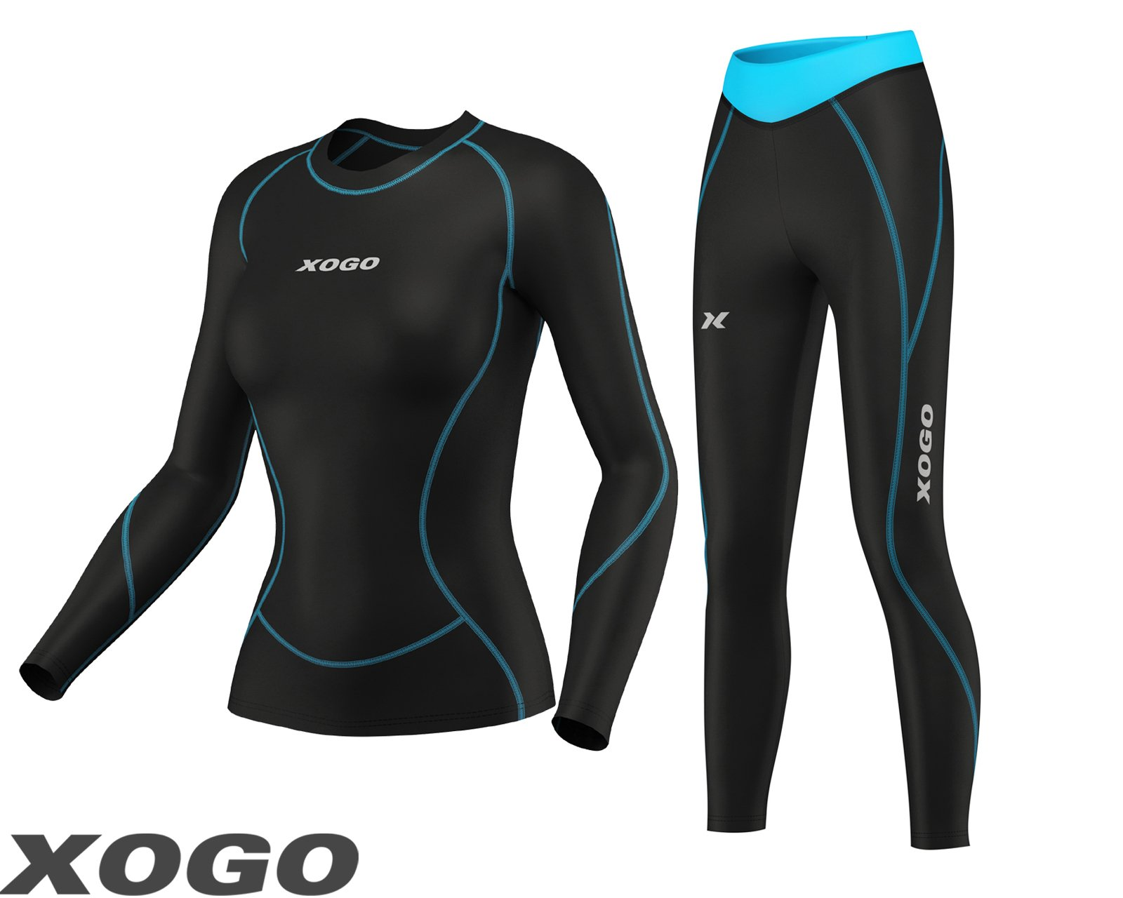 11e3b07b73b5 XOGO Ladies Women s Compression Armour Base layer Top Skin + Leggings set  product image