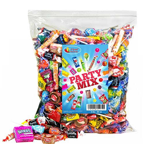 Assorted Candy Party Mix, 5 LB Bulk Bag: Fire Balls, Airheads, Jawbusters, Laffy Taffys, Tootsie Rolls and Much More of Your Favorite Candy! ()