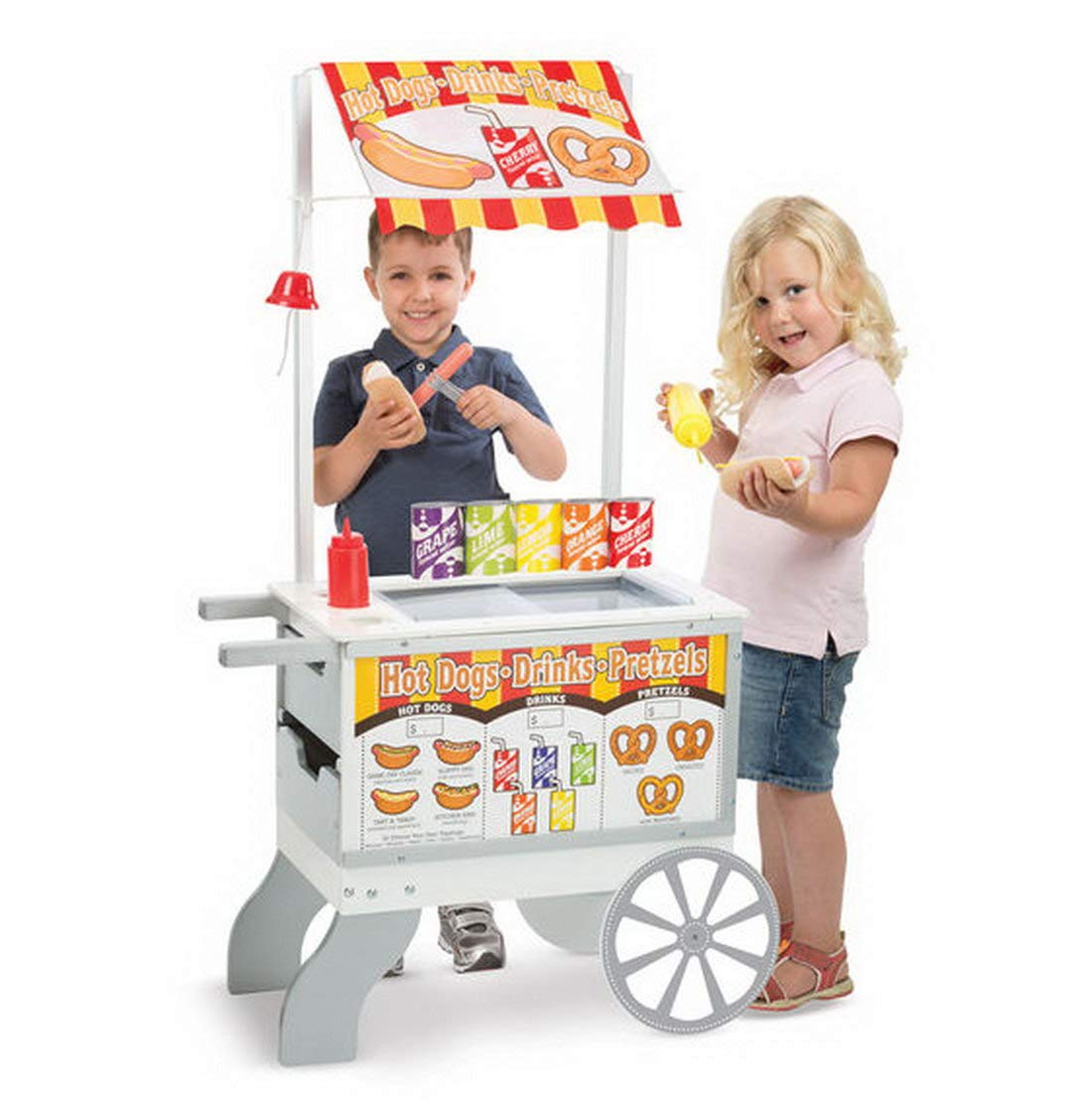 Woodega - Niños Madera Juguete Aperitivos & Sweets Food Cart, Hielo Carro Hot Dog Stand Hielo Carga 125 x 65 x, Plata: Amazon.es: Juguetes y juegos