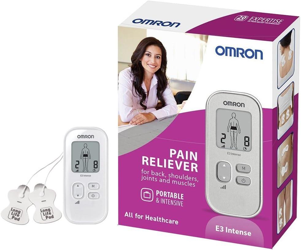 OMRON E3 Intense - Electroestimulador para aliviar el dolor muscular sin medicación, electrodos incluidos