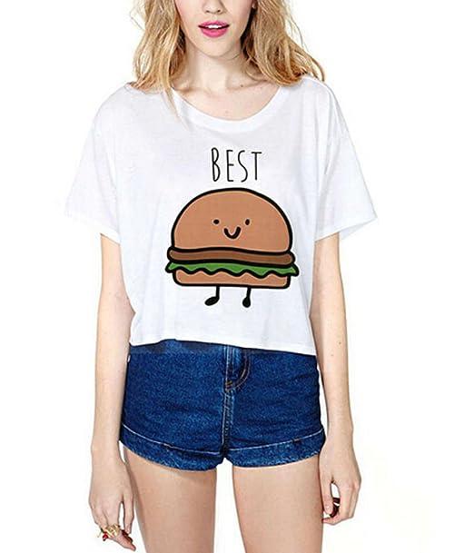 HENGSONG Damen Weiß Shirt Kurzarm T Shirt mit Aufdruck Best Friends T-Shirt  Pommes Frites Damen Sommer Tops mit Cartoon: Amazon.de: Bekleidung