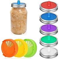 8 stks Mason Jar Deksels, Bestcool Siliconen Fermentatiedeksels Kiemende Deksels Waterloze Luchtsluis Kimchi Deksel voor…