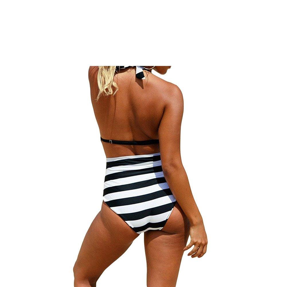 Summer Bandage Bikini One Piece Deep V-neck Criss Cross Straps Design High Waisted Swimwear