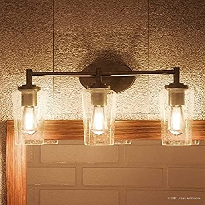 """Luxury Vintage Bathroom Vanity Light, Medium Size: 10""""H x 23""""W, with Antique Style Elements, Elegant Estate Bronze Finish and Seeded Glass, Includes Edison Bulbs, UQL2272 by Urban Ambiance"""