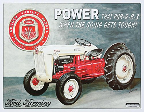 Tin Tractor Toy - Ford Farming Jubilee Tractor Tin Sign 11 x 16in