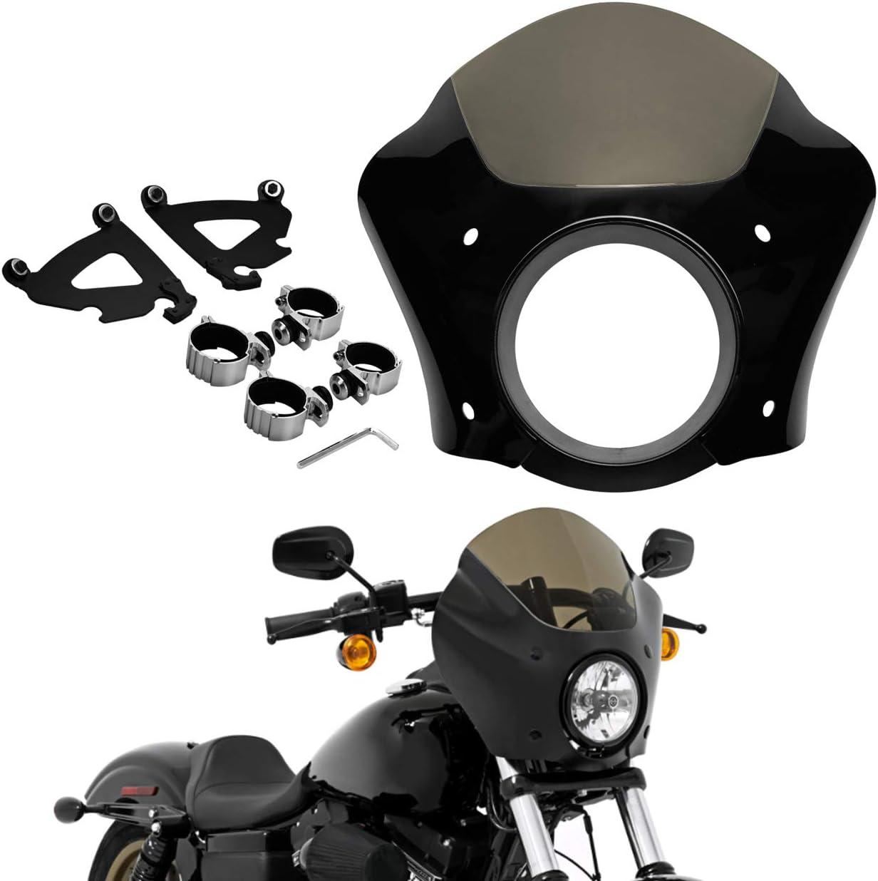 HDBUBALUS Black Headlight Gauntlet Fairing with 49 mm Trigger Lock Mount Fits for Harley Dyna Low Rider Street Bob 2006-2019