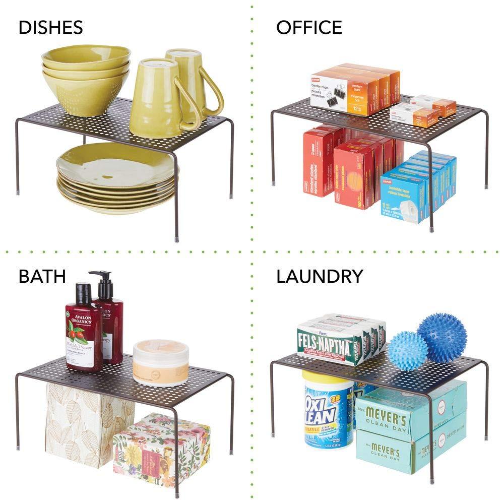 etc Petit Range Vaisselle de Cuisine pour Tasses Couleur Bronze Aliments Assiettes MetroDecor mDesign Set de 2 /étag/ère Cuisine Rangement Cuisine autoportant en m/étal