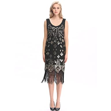 e1ded925eb26d Wuchieal Women s 1920s Sequined Embellished Fringed Flapper Gatsby Dress  Black S