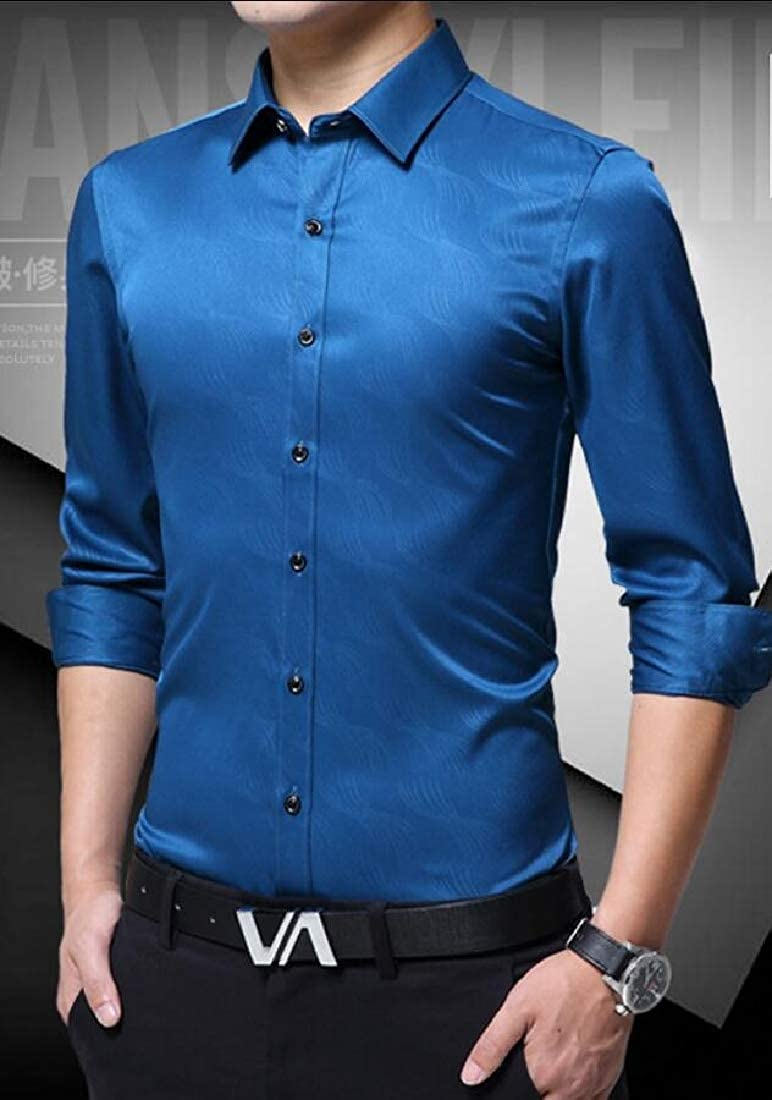 Mens Slim Fit Business Non-Iron Leisure Solid Color Point Collar Dress Shirts