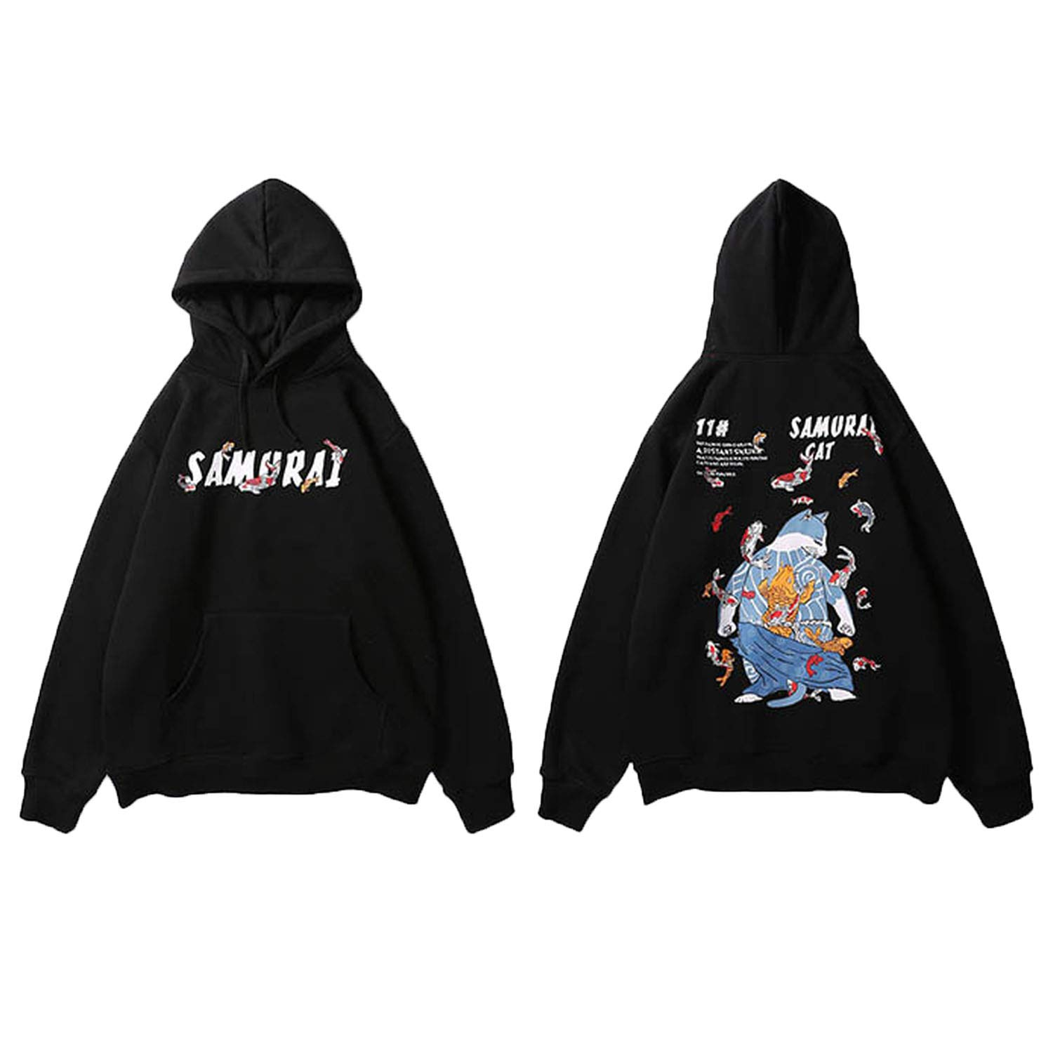 Amazon.com: Hoodie Sweatshirt Harajuku Japanese Ninja Cat ...